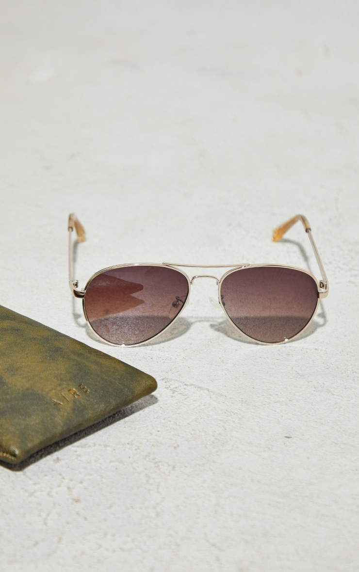 AIRE Brown Atmosphere Aviator Sunglasses 3