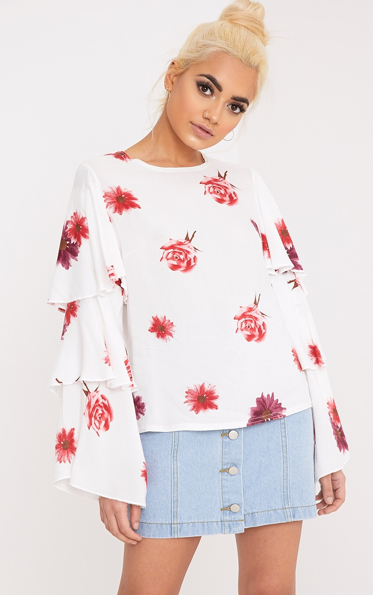 Lexia White Frill Longsleeve Floral Printed Blouse  1