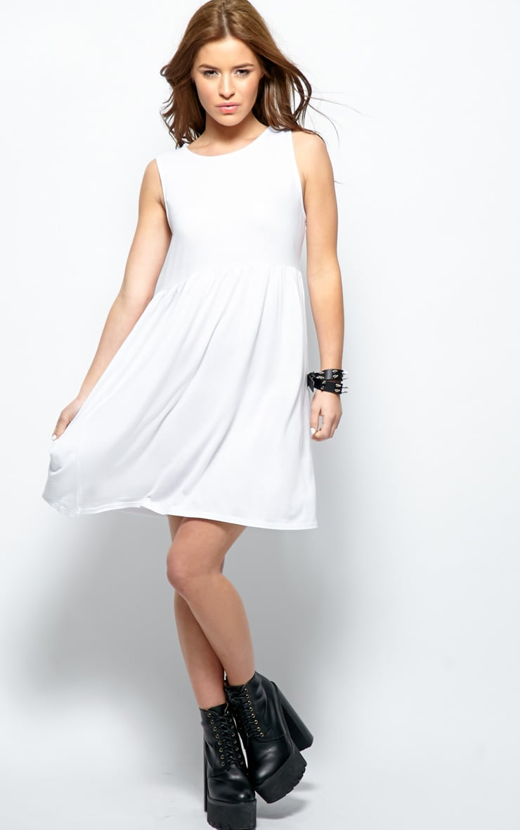 07d4389f7822 Kirsten White Sleeveless Smock Dress image 1