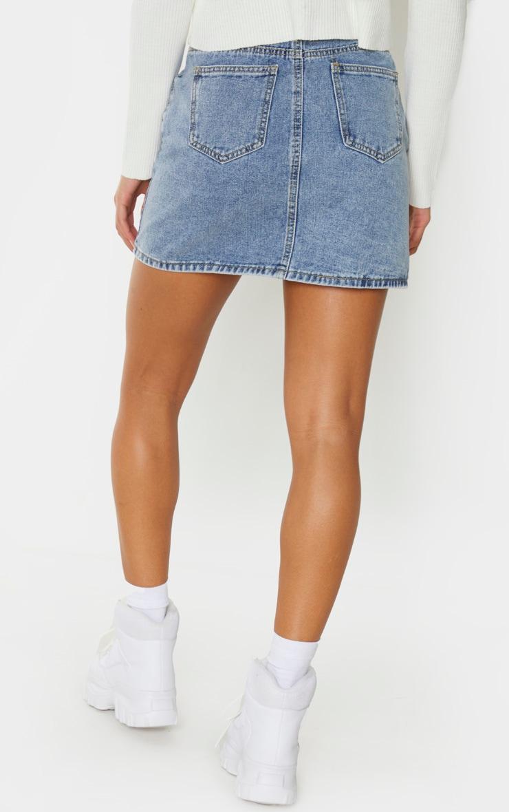 Vintage Wash V Panel Denim Skirt 3