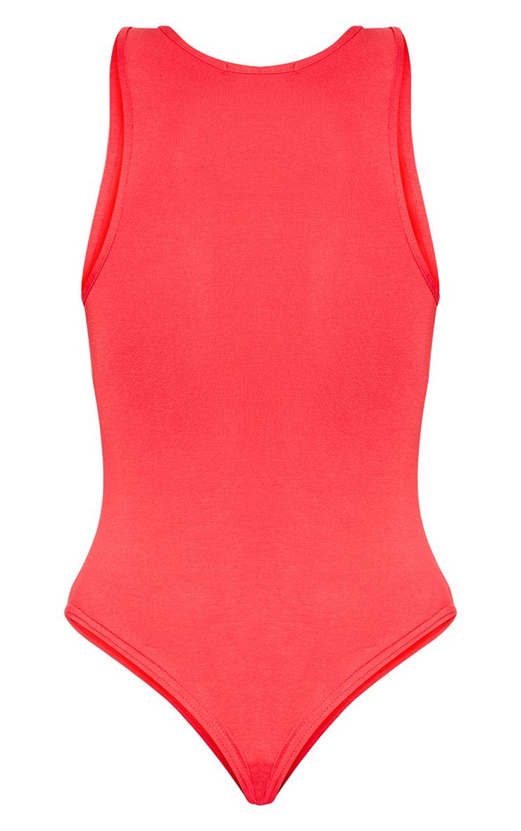 Basic Red Jersey Plunge Neck Thong Bodysuit  4