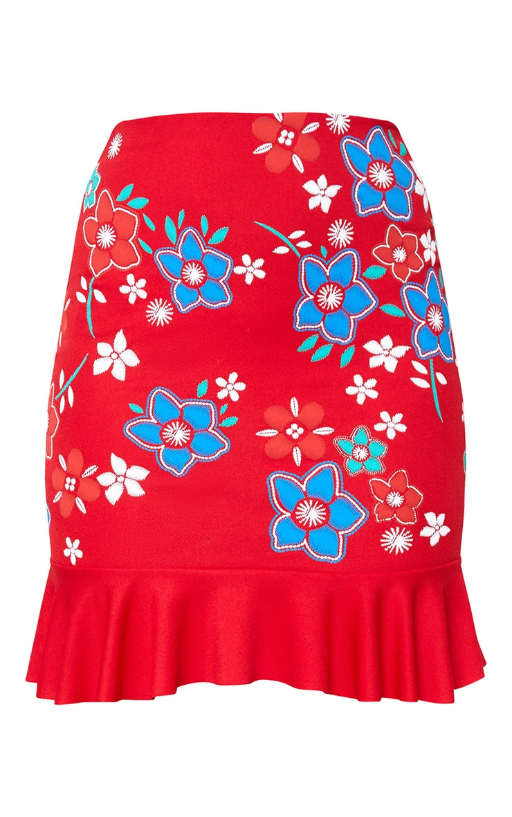 Red Embroidery Printed Frill Hem Mini Skirt 3