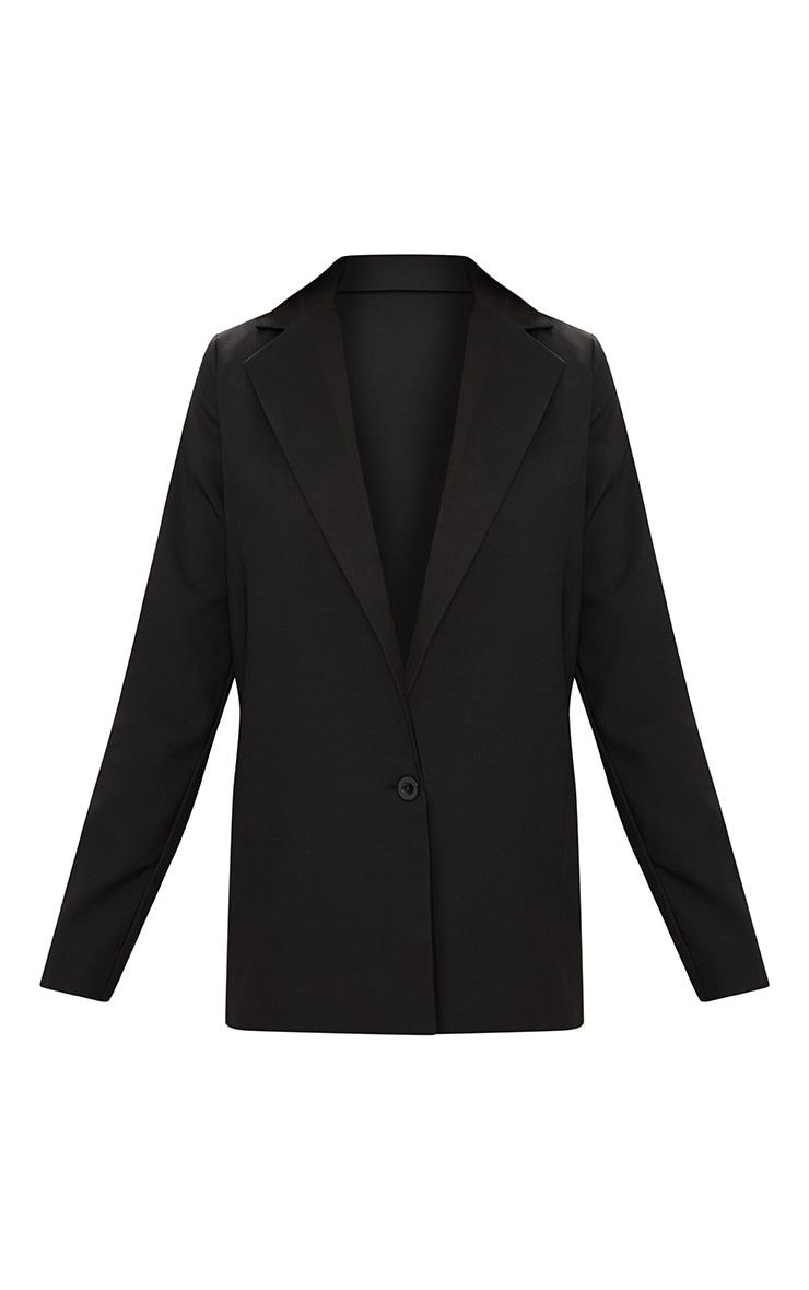 Black Oversized Boyfriend Fit Woven Blazer 3