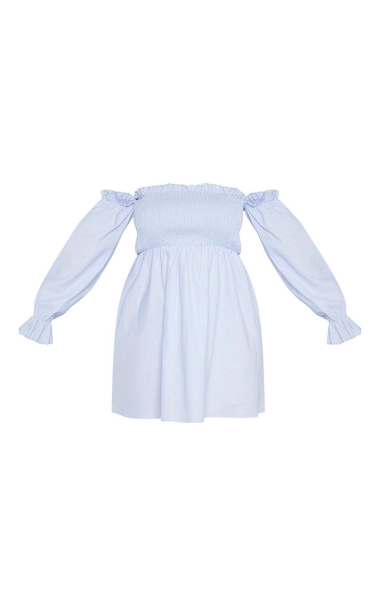 Plus Dusty Blue Shirred Bardot Long Sleeve Dress 3