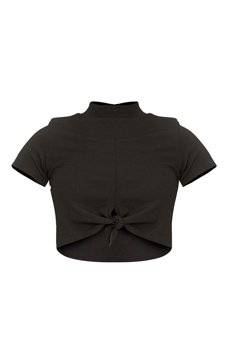 Maycie Black Knot Front Crop T Shirt  3