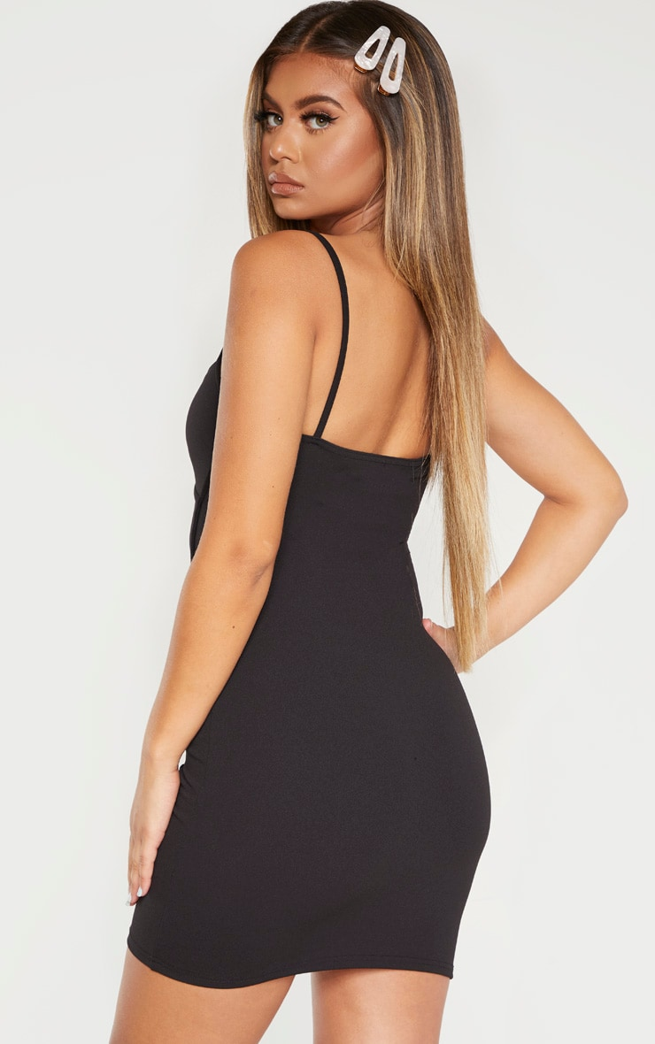 Black Strappy Binding Bust Detail Bodycon Dress 2