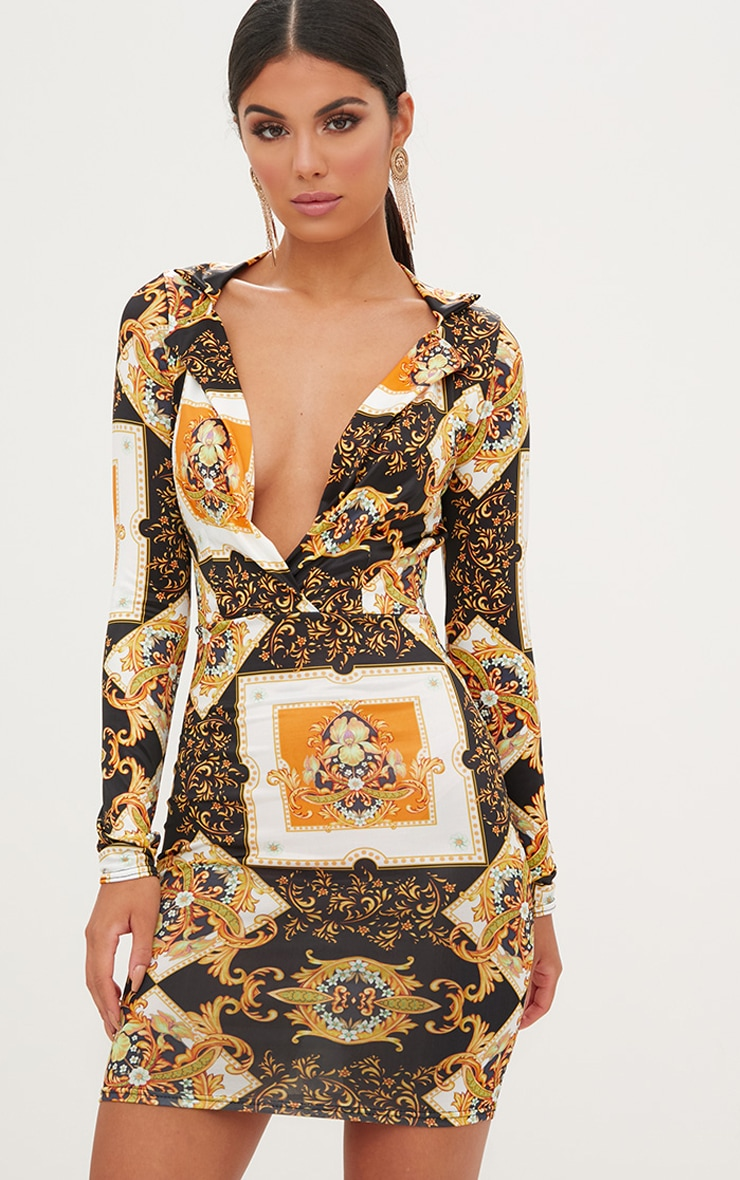 Black Scarf Print  Collar Detail Bodycon Dress  1