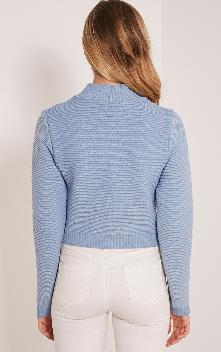 Dusty Blue Ribbed Crop Knitted Jumper  2