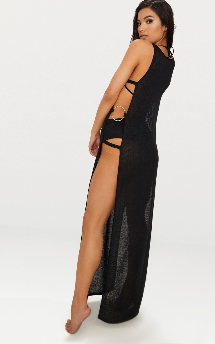 Black Open Side Ring Detailed Beach Maxi 2