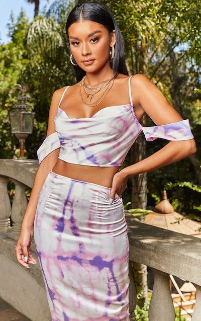 Pink Tie Dye Print Bardot Strappy Crop Top