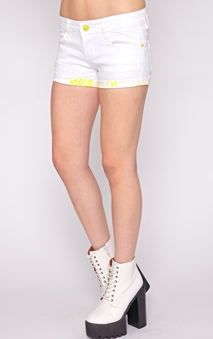 Hollie Yellow Trim Denim White Hotpant -XL 3