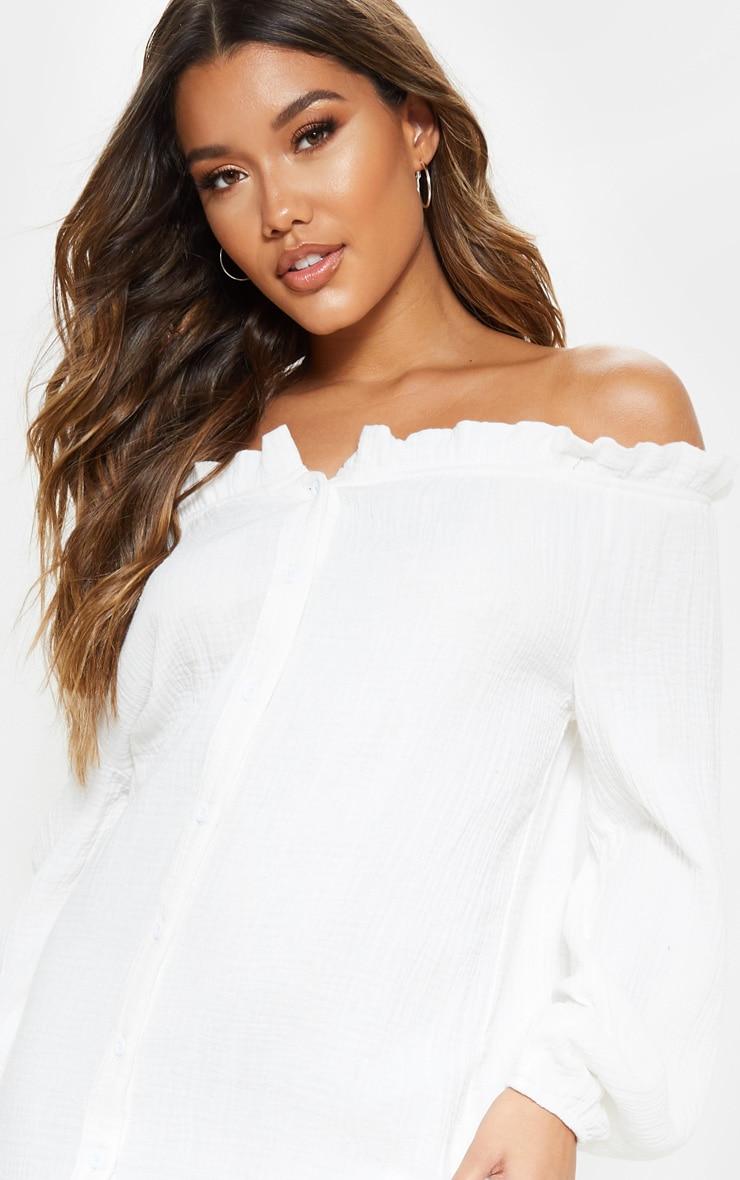 White Frill Hem Bardot Maxi Dress 5