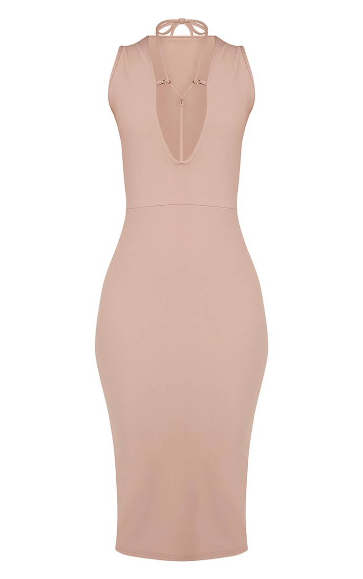 Marny Taupe Harness Detail Midi Dress 3