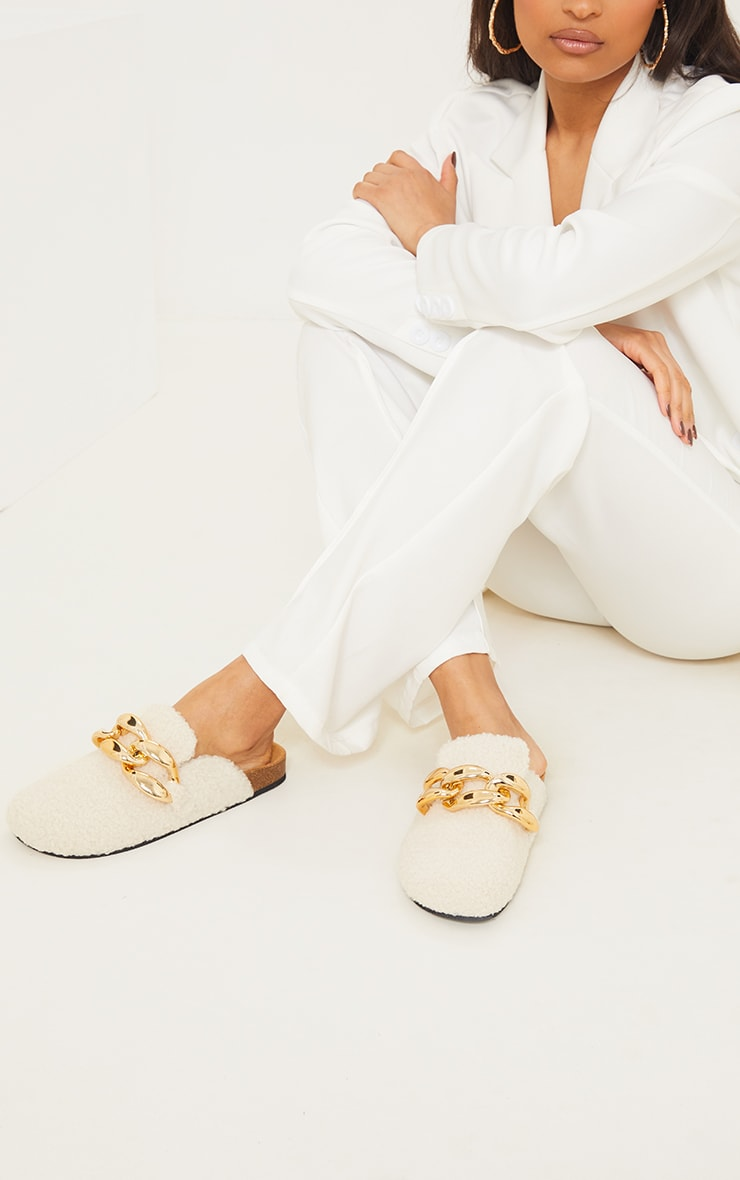 Cream Faux Shearling Chunky Chain Mules 1