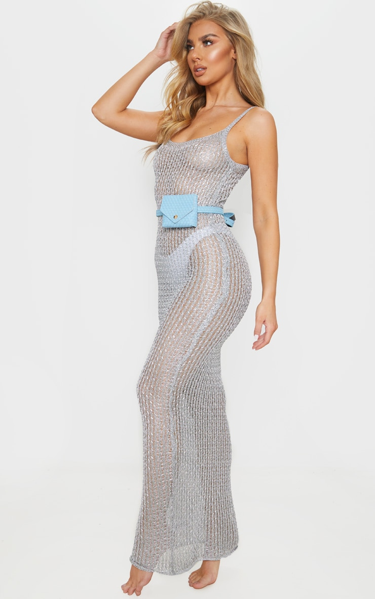 Silver Metallic Knitted Maxi Dress 3