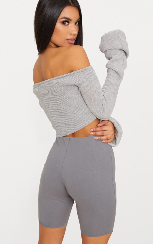 Grey Ruched Knit Extreme Sleeve Crop Jumper 2