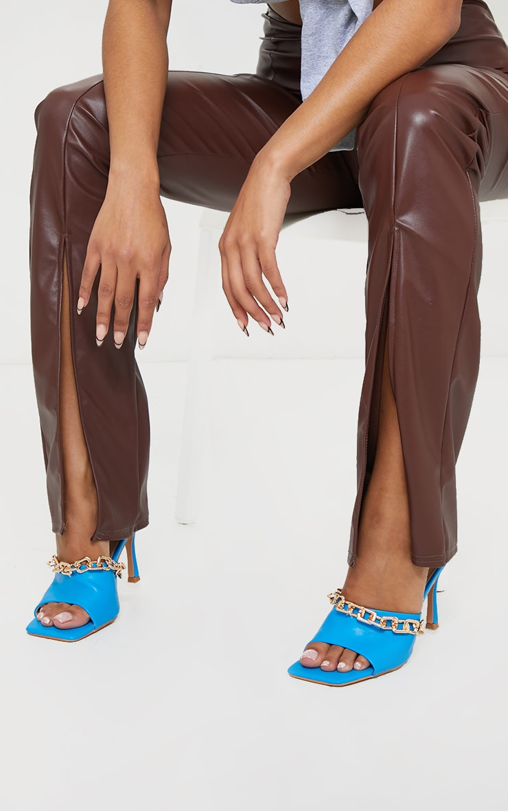 Blue PU Chain Detail Mid Heeled Mules 2