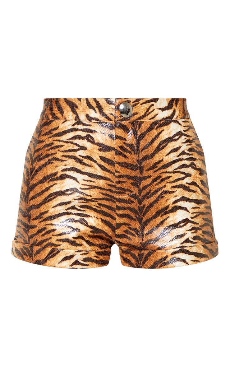 Tiger Print High Waisted Shorts 4