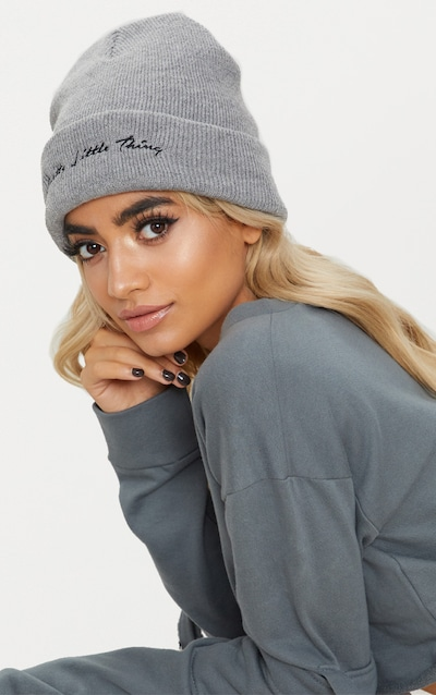 PRETTYLITTLETHING Light Grey Embroidered Beanie