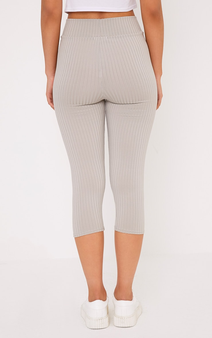 Harlie Grey Cropped Ribbed High Waisted Leggings 4