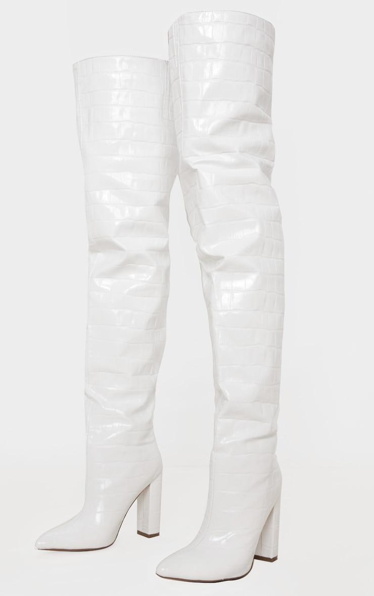 White Thigh High Point Block Heel Boots 3