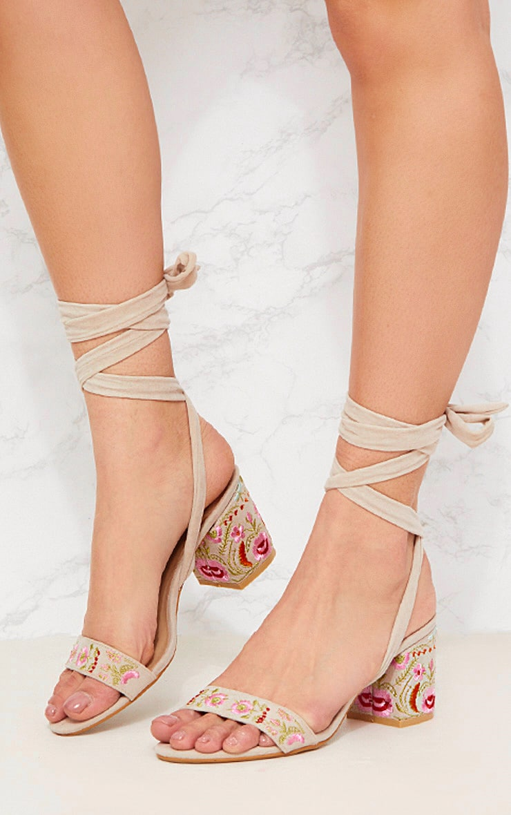 Nude Embroidered Lace Up Block Heeled Sandals 4