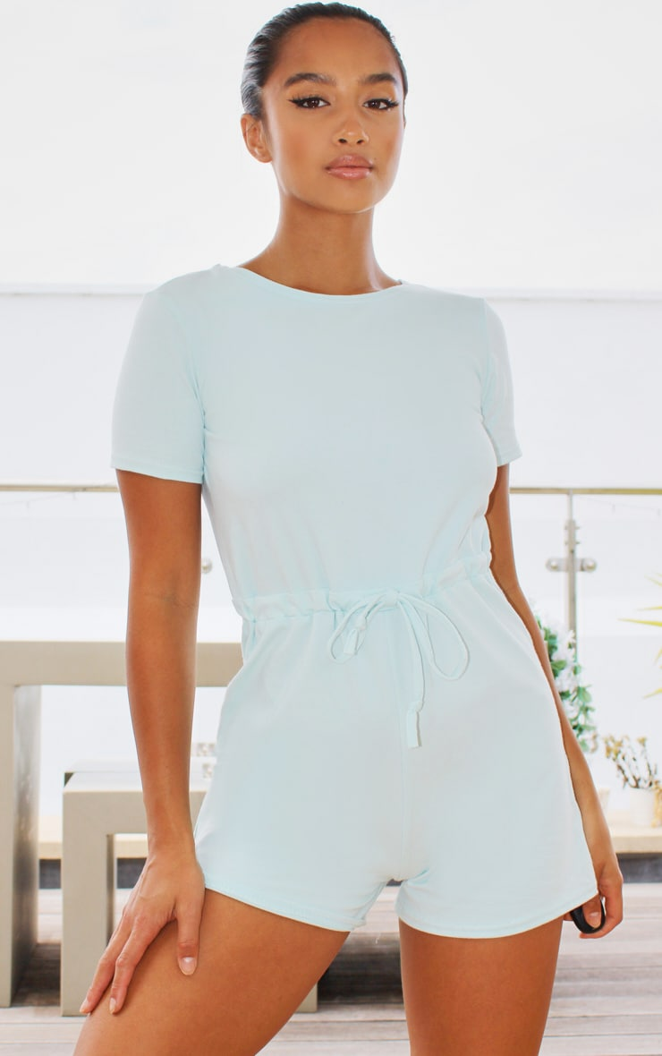 Petite Pastel Blue Cotton Elastane Short Sleeve Playsuit 1