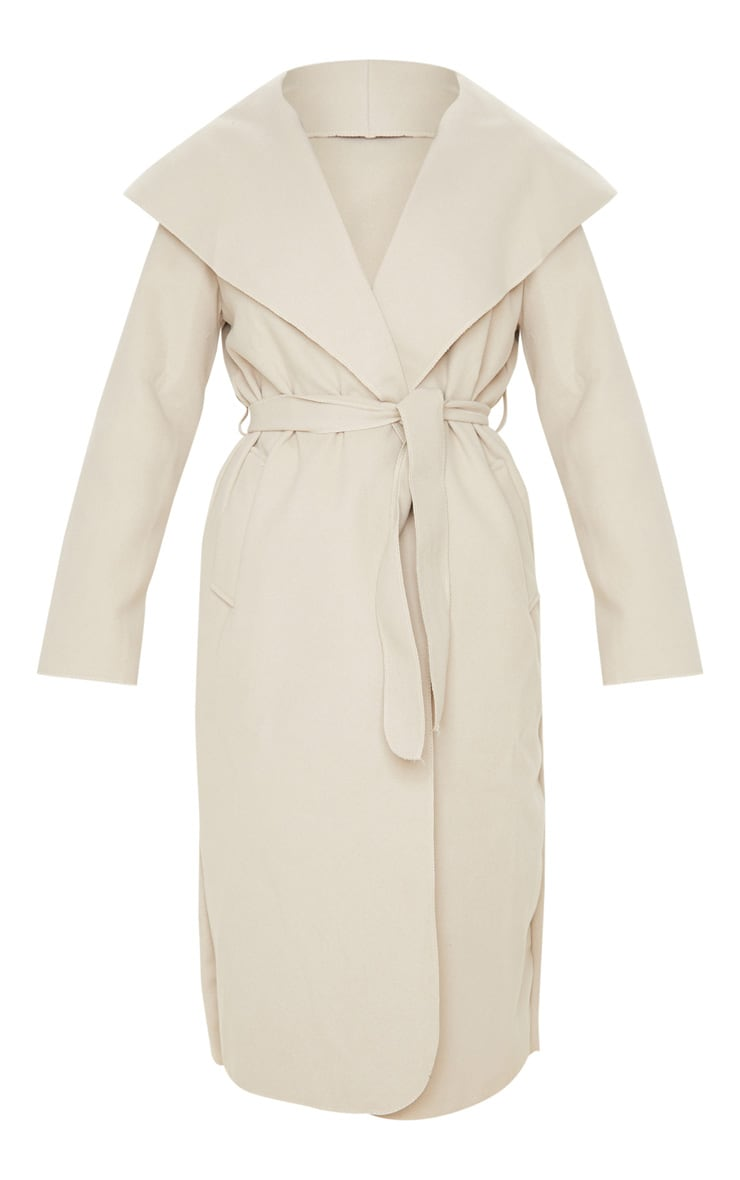 Veronica Beige Oversized Waterfall Belt Coat 3