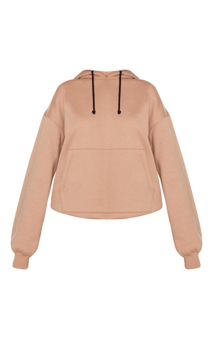 PRETTYLITTLETHING Mocha Oversized Slogan Back Pocket Front Hoodie 5
