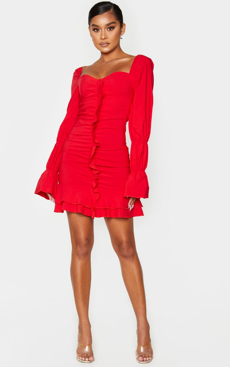 Red Ruched Front Frill Bodycon Dress 3
