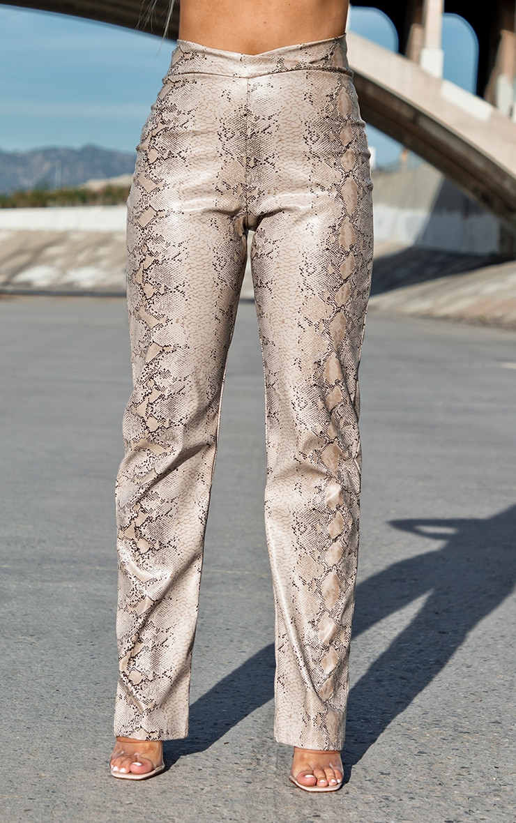 Taupe Snake Print V Waist Trousers 2