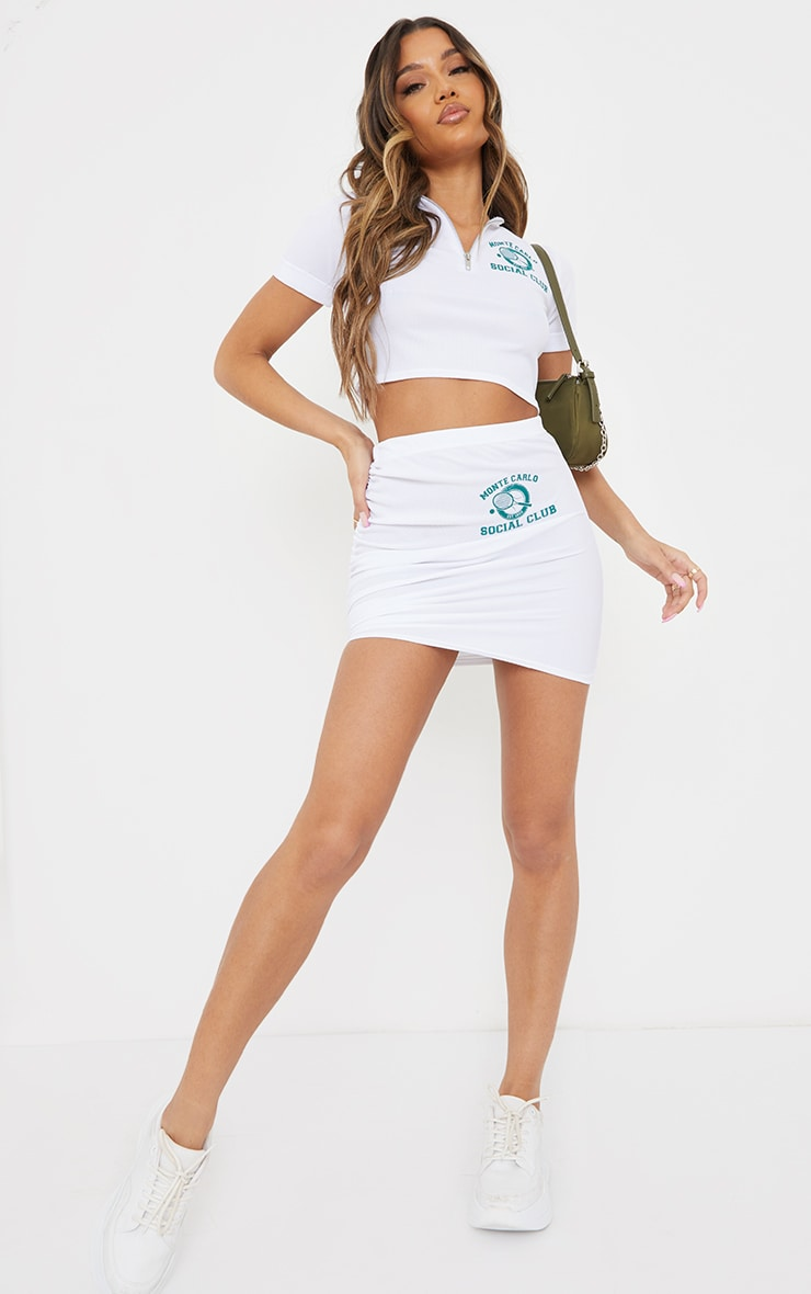 White Stretch Waffle Tennis Print Ruched Tie Side Mini Skirt