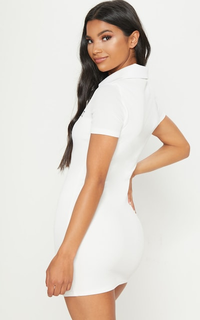 PRETTYLITTLETHING White Embroidered Collar Detail Bodycon Dress
