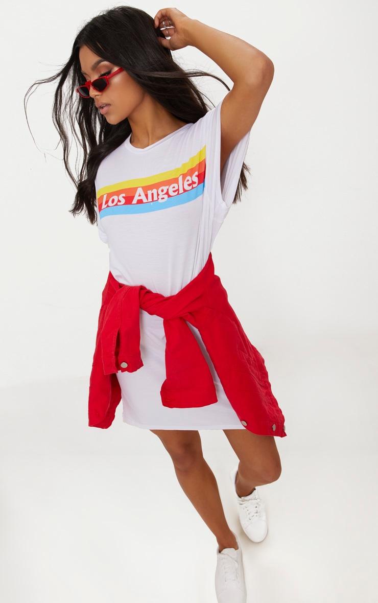 White LA Rainbow Print T Shirt Dress 1