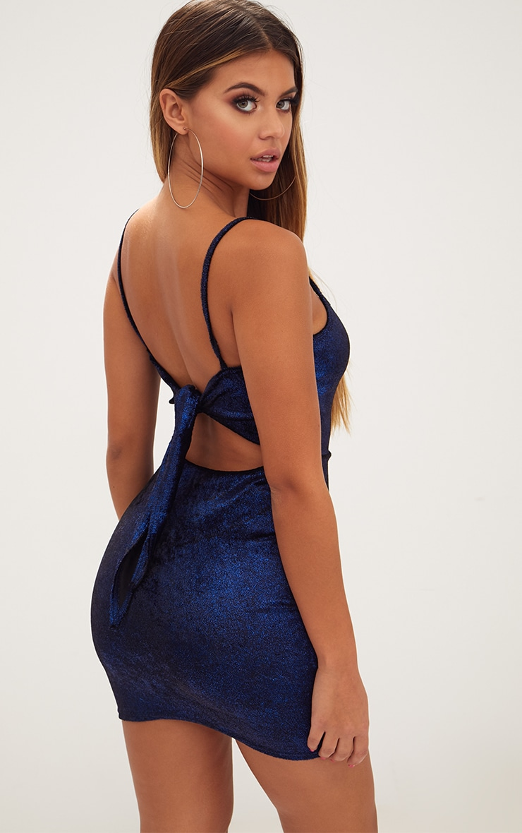 Blue Glitter Metallic Tie Back Bodycon Dress 2
