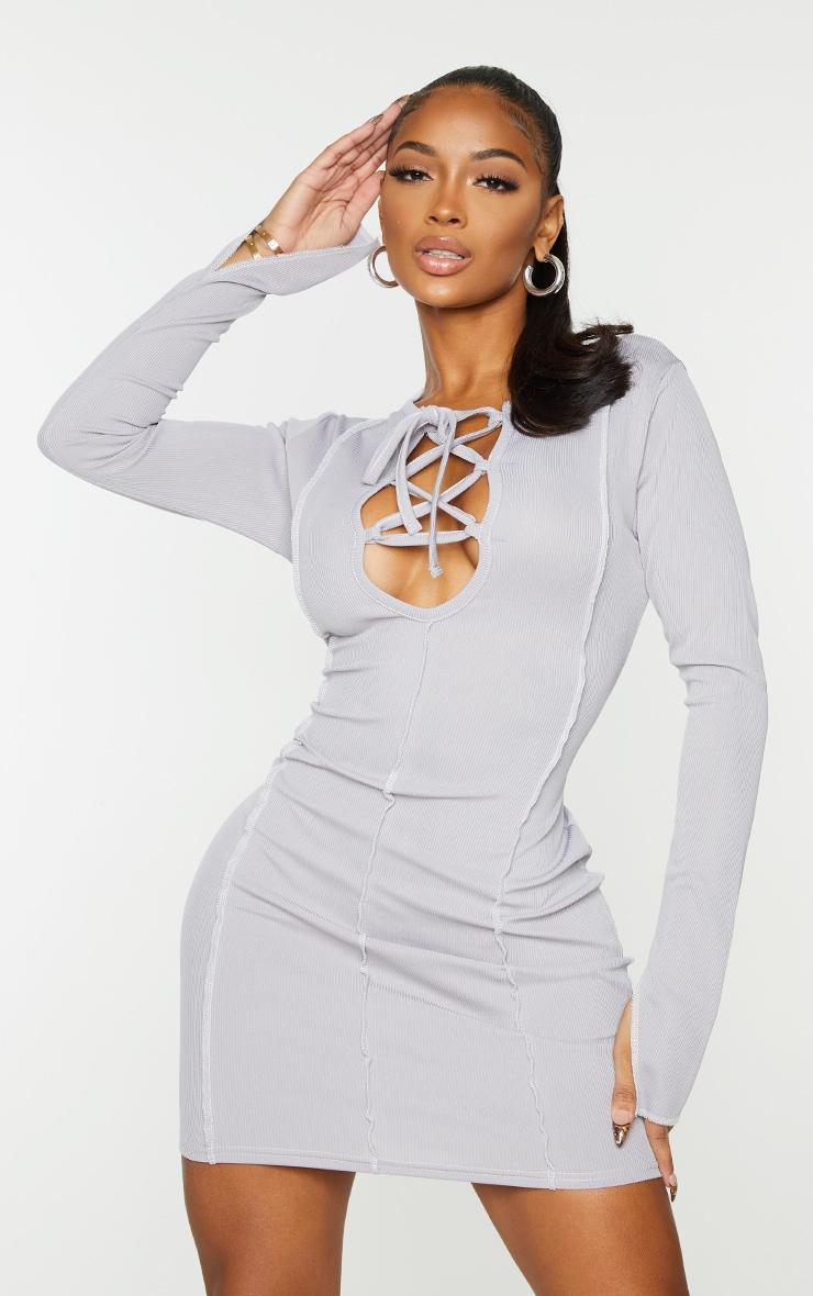 Shape Grey Rib Overlock Seam Lace Up Split Sleeve Bodycon Dress 1