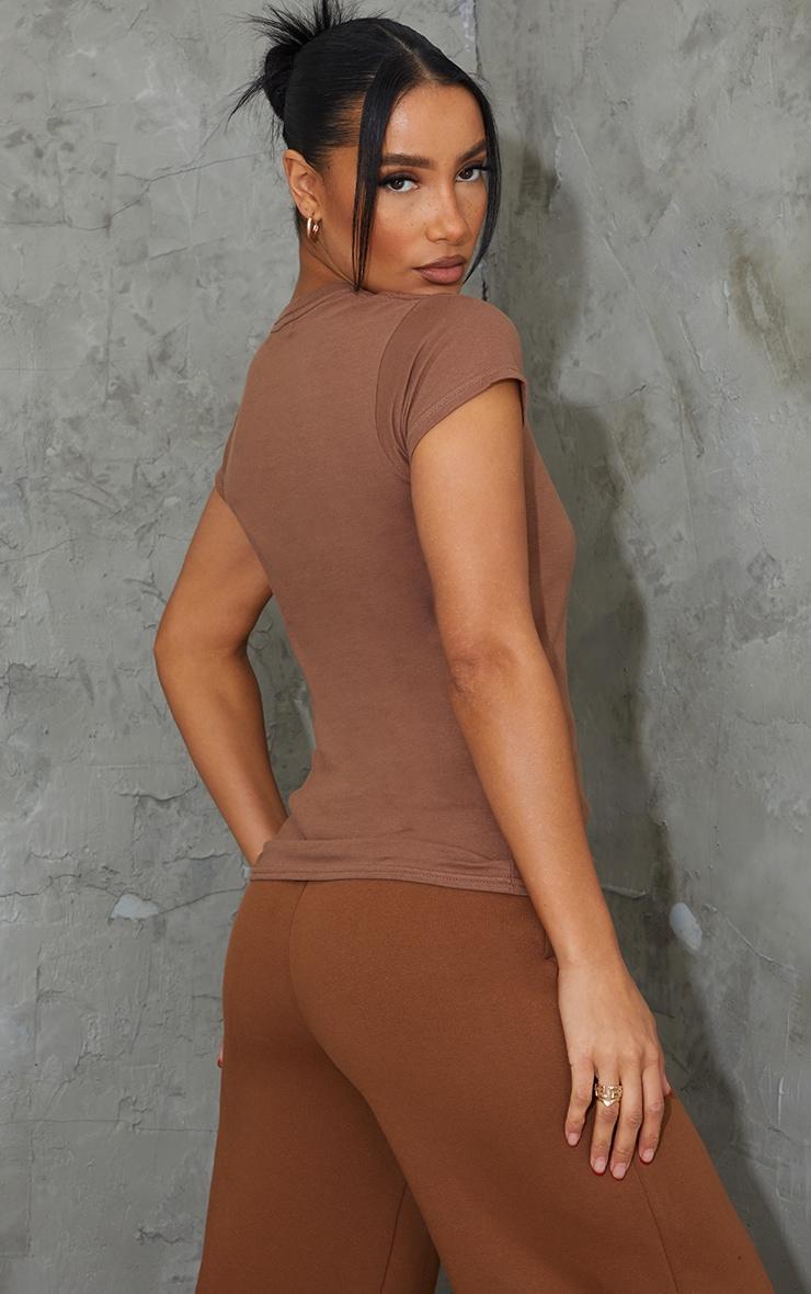 Tee-shirt simple cintré marron clair 2