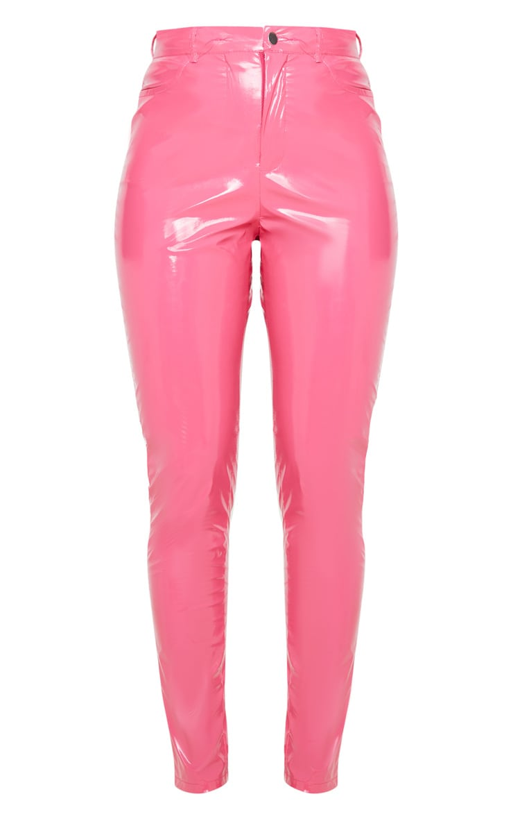 Hot Pink Button Front Vinyl Skinny Pants 3