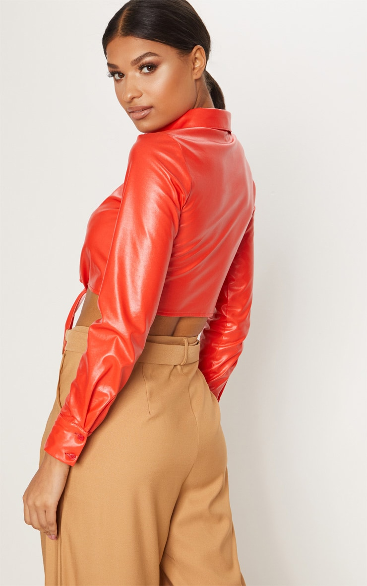 Red Faux Leather Tie Front Shirt  2
