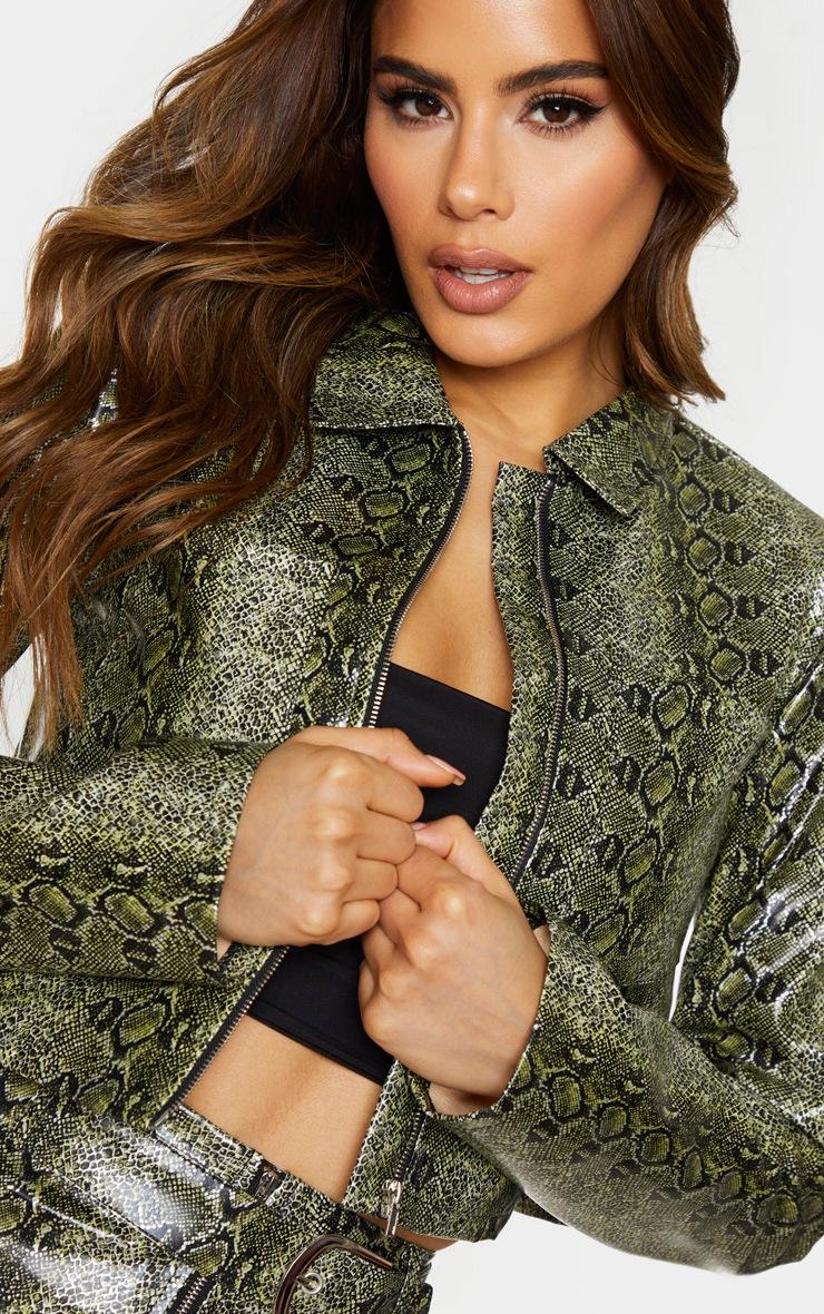 Tall Green Pocket Detail Snake Print Zip Jacket 4