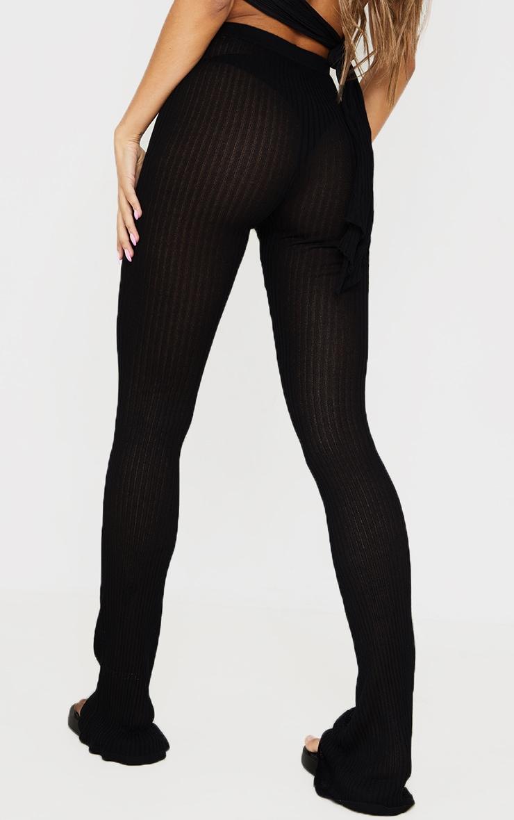 Pantalon en maille transparente noire à jambes évasées 3