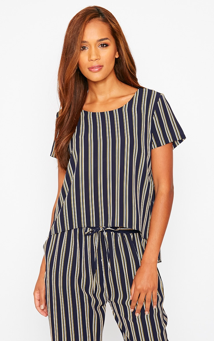 Kali Navy Stripe Drop Hem Tee 1