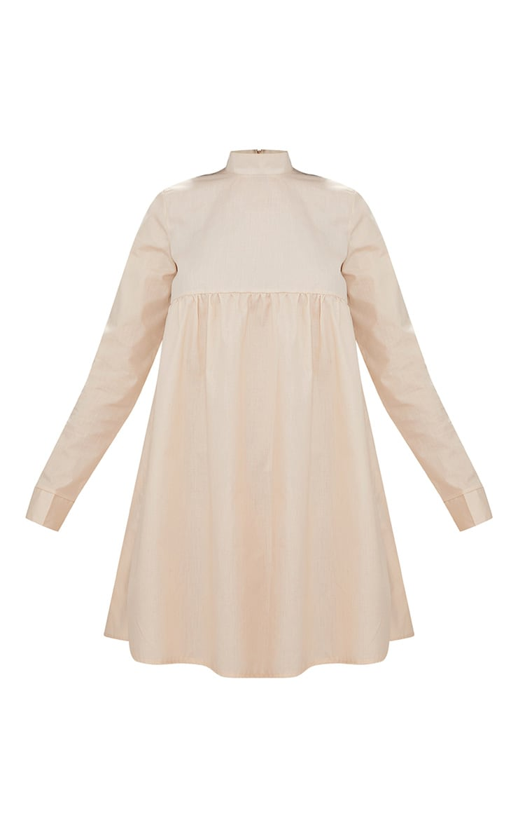 Stone Cotton Poplin High Neck Smock Dress 3