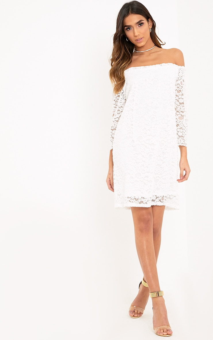 Cora White Lace Bardot Shift Dress 4