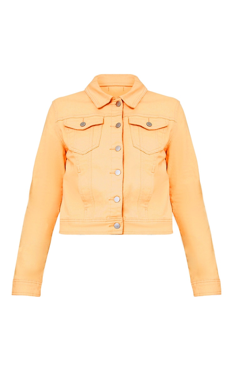 Peach Cropped Denim Jacket 3