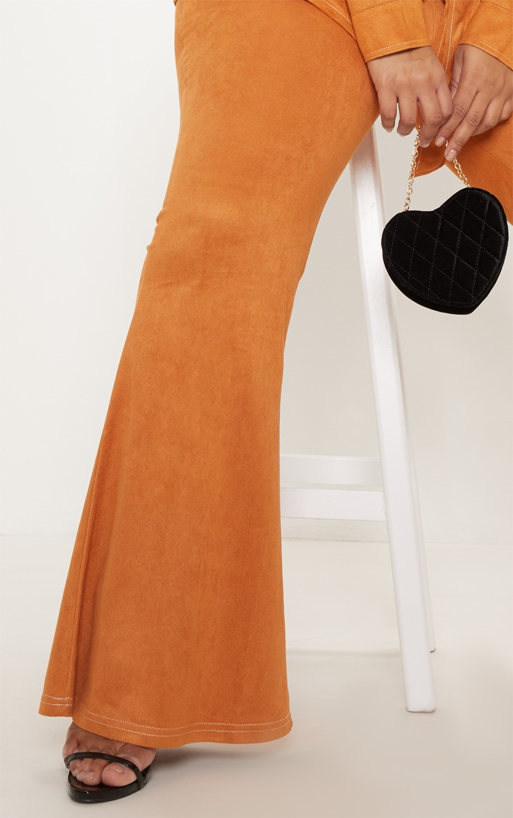 Plus Toffee High Waisted Flare Leg Trousers 5