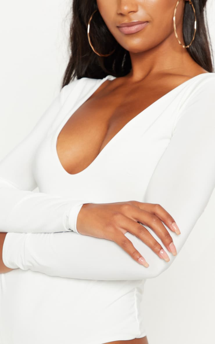 Cream V Neck Slinky Bodysuit 5