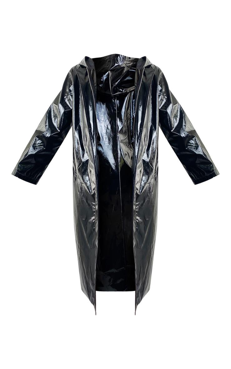 Black Vinyl Hooded Trench Coat 5