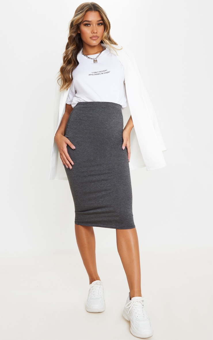 Charcoal Ultimate Jersey Longline Midi Skirt 1