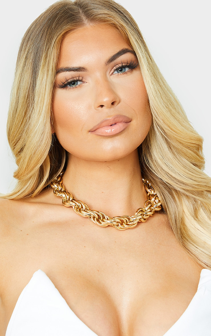 Gold Chunky Oversized Rope Chain Necklace 1